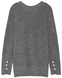 3.1 Phillip Lim Oversized Faux Pearl Embellished Knitted Sweater Anthracite