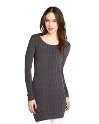 Willow & Clay Charcoal Cotton Blend Cable Knit Sweater Tunic