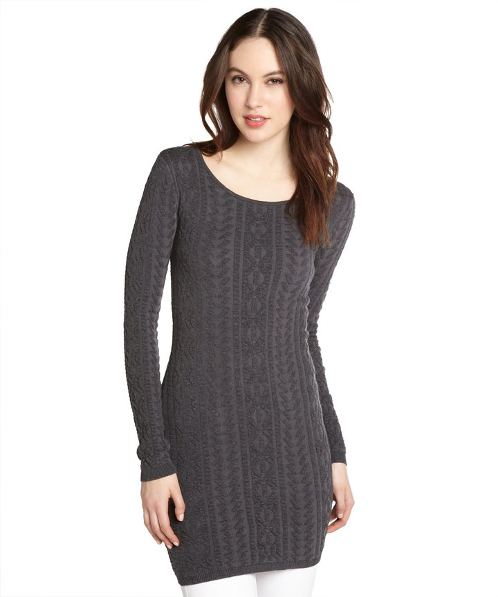 Willow & Clay Charcoal Cotton Blend Cable Knit Sweater Tunic ...
