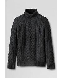 Lands' End Aran Cable Turtleneck Sweater