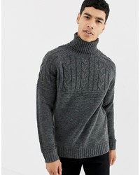 Pier One Cable Knit Jumper In Dark Grey With Roll Neck