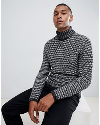 ONLY & SONS Chunky Knitted Roll Neck Jumper Melange