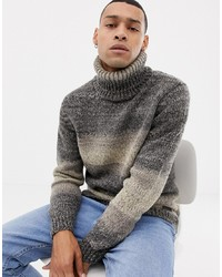 Esprit Chunky Wool Blend Knit Ombre Stripe Roll Neck Jumper In Grey