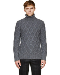 Moncler Gamme Bleu Grey Cable Knit Turtleneck