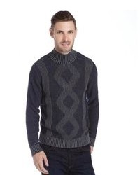 Cullen Navy And Grey Cotton Plaited Mock Neck Sweater