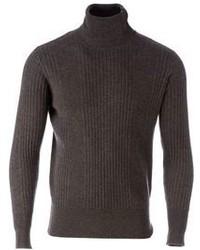 Side Slope Turtle Neck Sweater