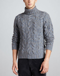 Neiman Marcus Superfine Marled Cable Knit Turtleneck Sweater Blue