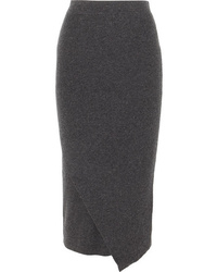 Allude Wrap Effect Ribbed Wool And Cashmere Blend Midi Skirt