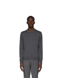 Z Zegna Grey Wool Knit Long Sleeve Polo