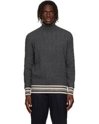 Brunello Cucinelli Grey Wool Cashmere Cable Knit Turtleneck