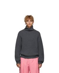 Acne Studios Grey Wool Ribbed Turtleneck