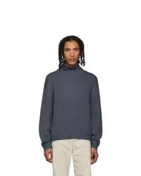 AFFIX Grey Wool Waffle Knit Turtleneck