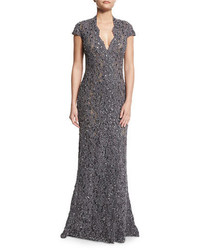 Charcoal Lace Evening Dress