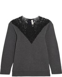 Stella McCartney Lace Paneled Cotton Blend Jersey Sweatshirt Dark Gray
