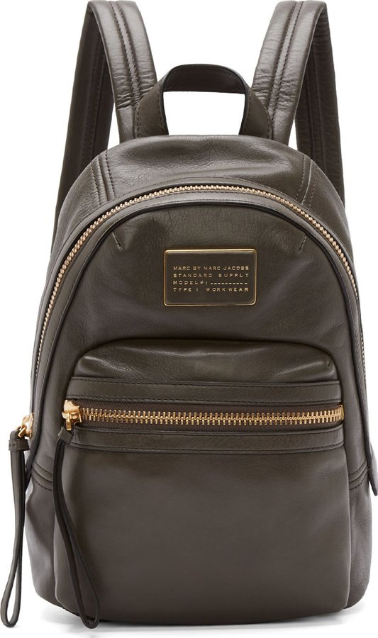6cc7b75ad4 Marc by Marc Jacobs Grey Leather Third Rail Backpack, $550 | SSENSE ...