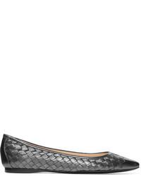 Bottega Veneta Metallic Intrecciato Leather Ballet Flats Dark Gray