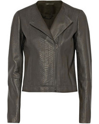 Charcoal Leather Biker Jacket
