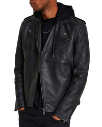 River Island Faux Leather Hooded Bomber