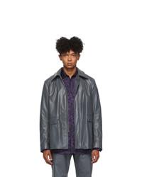 Dries Van Noten Grey Faux Leather Jacket