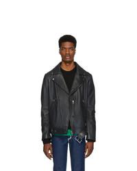 Acne Studios Grey Leather Nate Clean Jacket