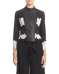 Yigal Azrouel Lace Leather Moto Jacket