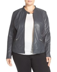 Sejour Plus Size Channel Stitch Leather Moto Jacket