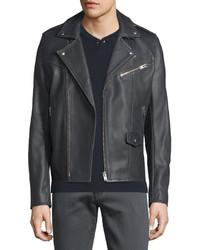 IRO Rolf Washed Leather Moto Jacket Dark Gray
