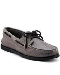 Charcoal Leather Boat Shoes