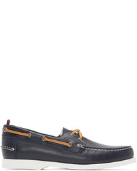Moncler Gamme Bleu Navy Leather Boat Shoes