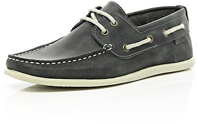 River Island Dark Grey Leather Boat Shoes | Where to buy & how to wear