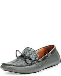 Bottega Veneta Woven Leather Driver Gray