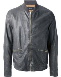 Charcoal Leather Bomber Jacket