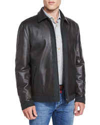 Kiton Leather Bomber Jacket With Cashmere Trim Olive