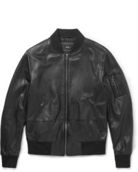 Hugo Boss Slim Fit Leather Bomber Jacket