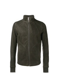 Rick Owens Zipped Leather Jacket Grey