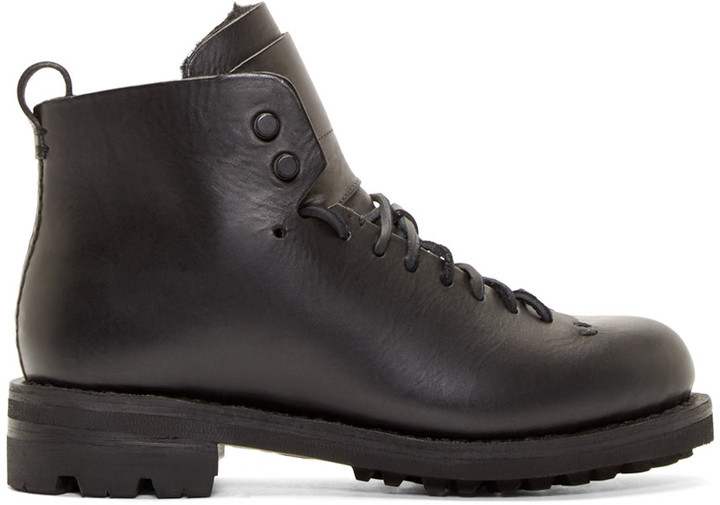 5e7e2cfa909 $800, Feit Black Leather And Wool Hiker Boots