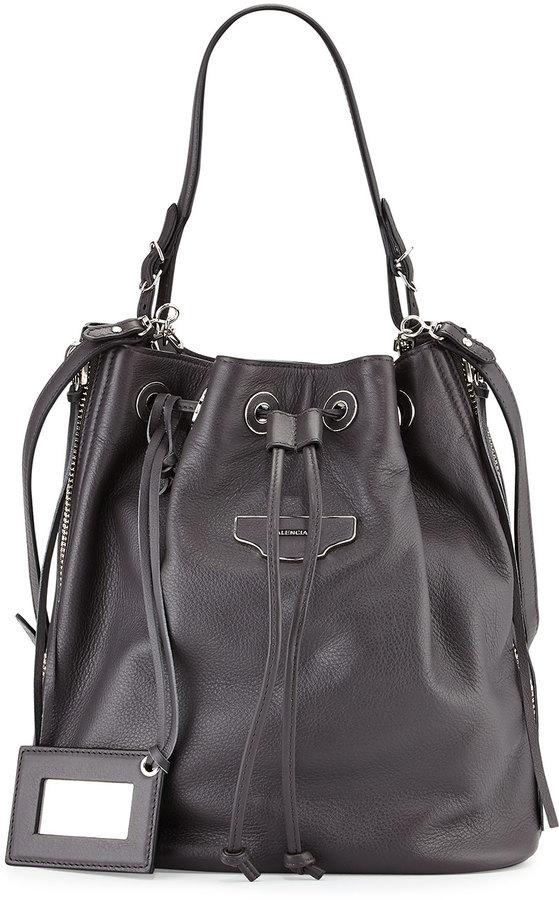 ... Leather Bucket Bags Balenciaga Papier Plate Side Zip Bucket Bag Gray ... 67cb425c50a47