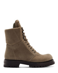 Rick Owens Grey Army Hiking Boots