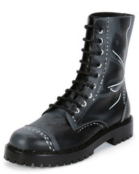 Moschino Trompe Loeil Leather Combat Boot Grey