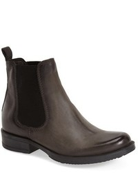 Charcoal Leather Chelsea Boots