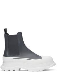Alexander McQueen Grey Tread Slick Chelsea Boots
