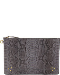Charcoal Leather Clutch