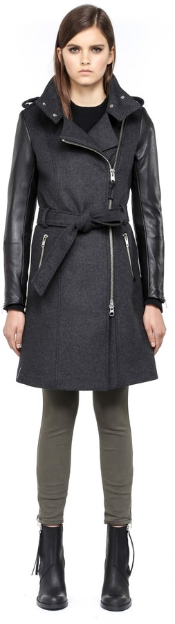 5e2164a02e5 ... Mackage Dale F4 Long Charcoal Winter Wool Coat With Leather Sleeves ...