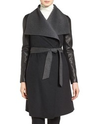 Leather sleeve wool blend wrap coat medium 1213551