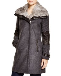 Mara fur trim mixed media coat medium 1213550