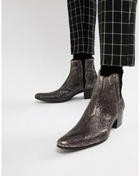 Jeffery West Murphy Cuban Boots In Pewter Cracked Metallic