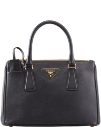 Prada Saffiano Double Zip Mini Crossbody Black