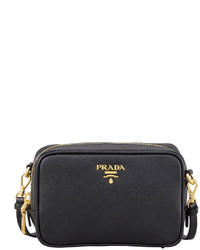 Prada Saffiano Mini Zip Crossbody Bag Black