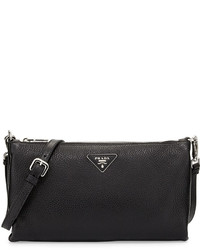 Prada Vitello Daino Crossbody Bag Black