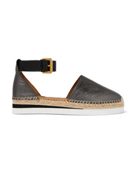See by Chloe Metallic Leather Wedge Espadrilles